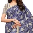 Lovely Blue - Cream Colored Casual Wear Printed Art Silk Saree