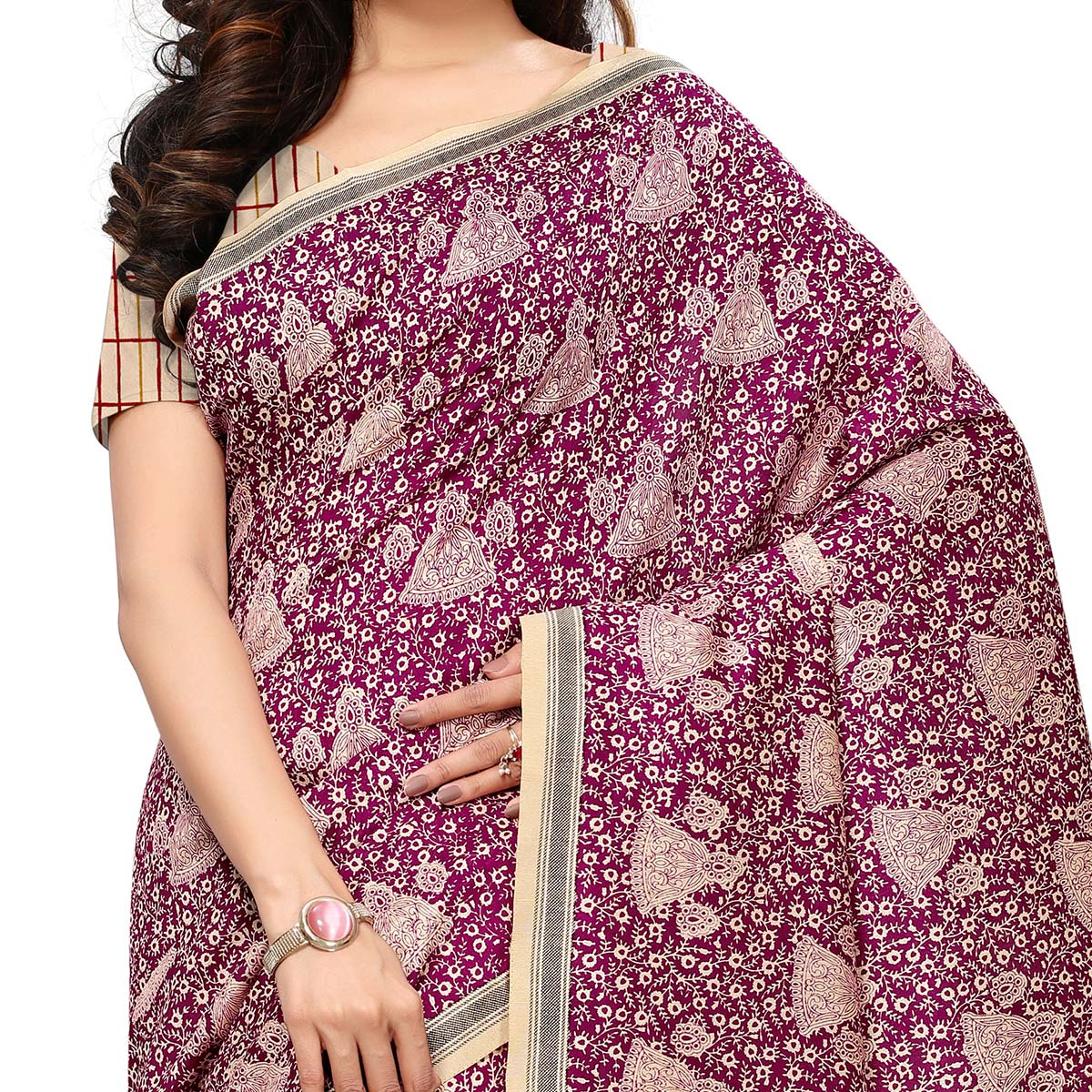 Pretty Purple - Cream Colored Casual Wear Printed Art Silk Saree