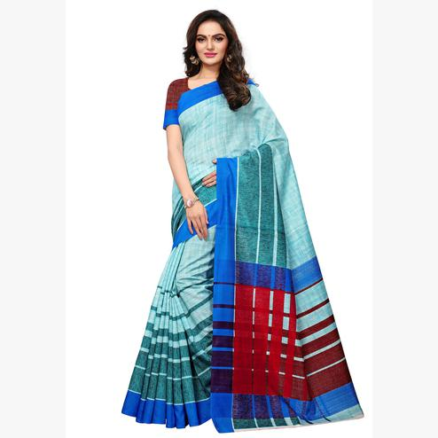 Ravishing Light Sky Blue Colored Casual Wear Printed Art Silk Saree