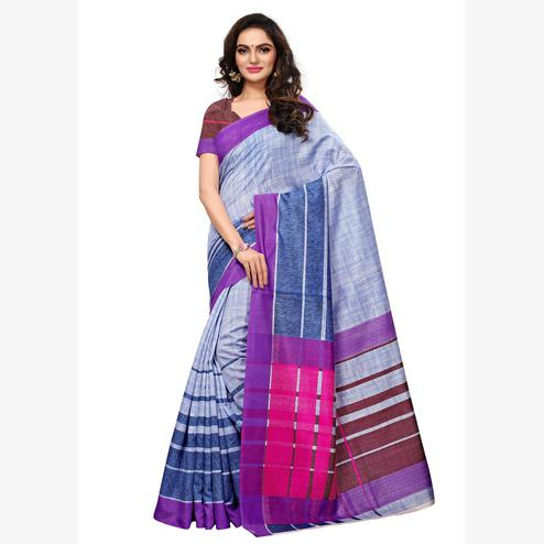 Intricate Light Blue Colored Casual Wear Printed Art Silk Saree