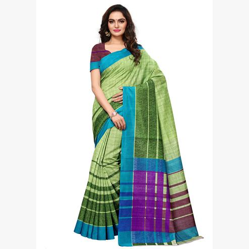 Desirable Green Colored Casual Wear Printed Art Silk Saree
