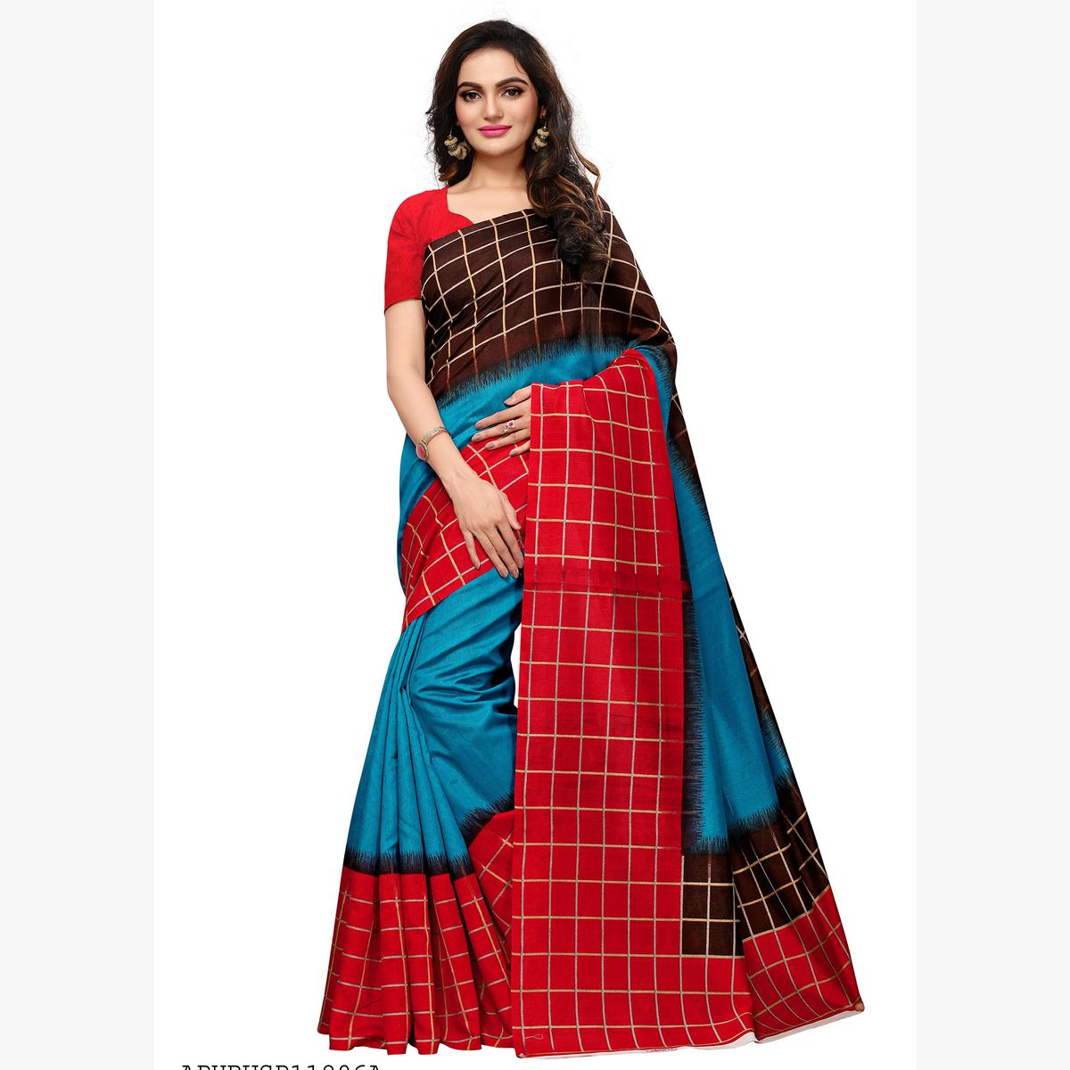 Sophisticated Turquoise Blue - Multi Colored Casual Wear Printed Art Silk Saree
