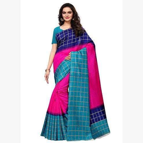 Demanding  Pink - Multi Colored Casual Wear Printed Art Silk Saree