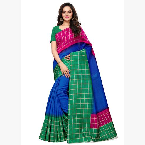 Pleasant  Blue - Multi Colored Casual Wear Printed Art Silk Saree