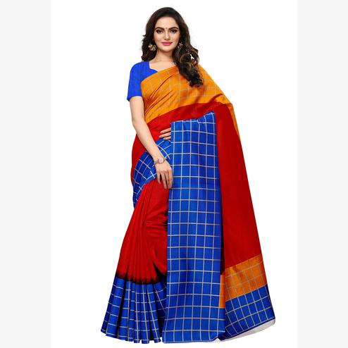Unique Red - Multi  Colored Casual Wear Printed Art Silk Saree