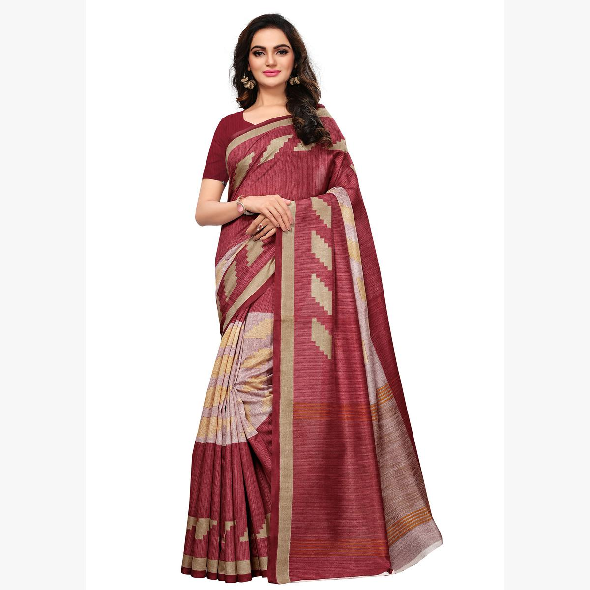 Refreshing  Maroon Colored Casual Wear Printed Art Silk Saree