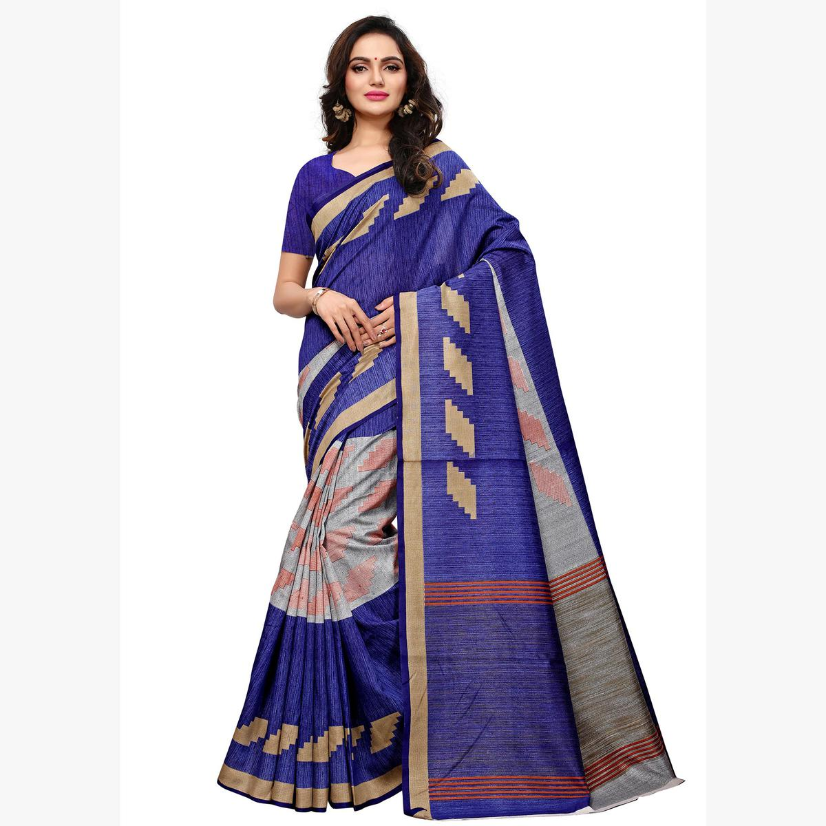 Elegant Blue Colored Casual Wear Printed Art Silk Saree