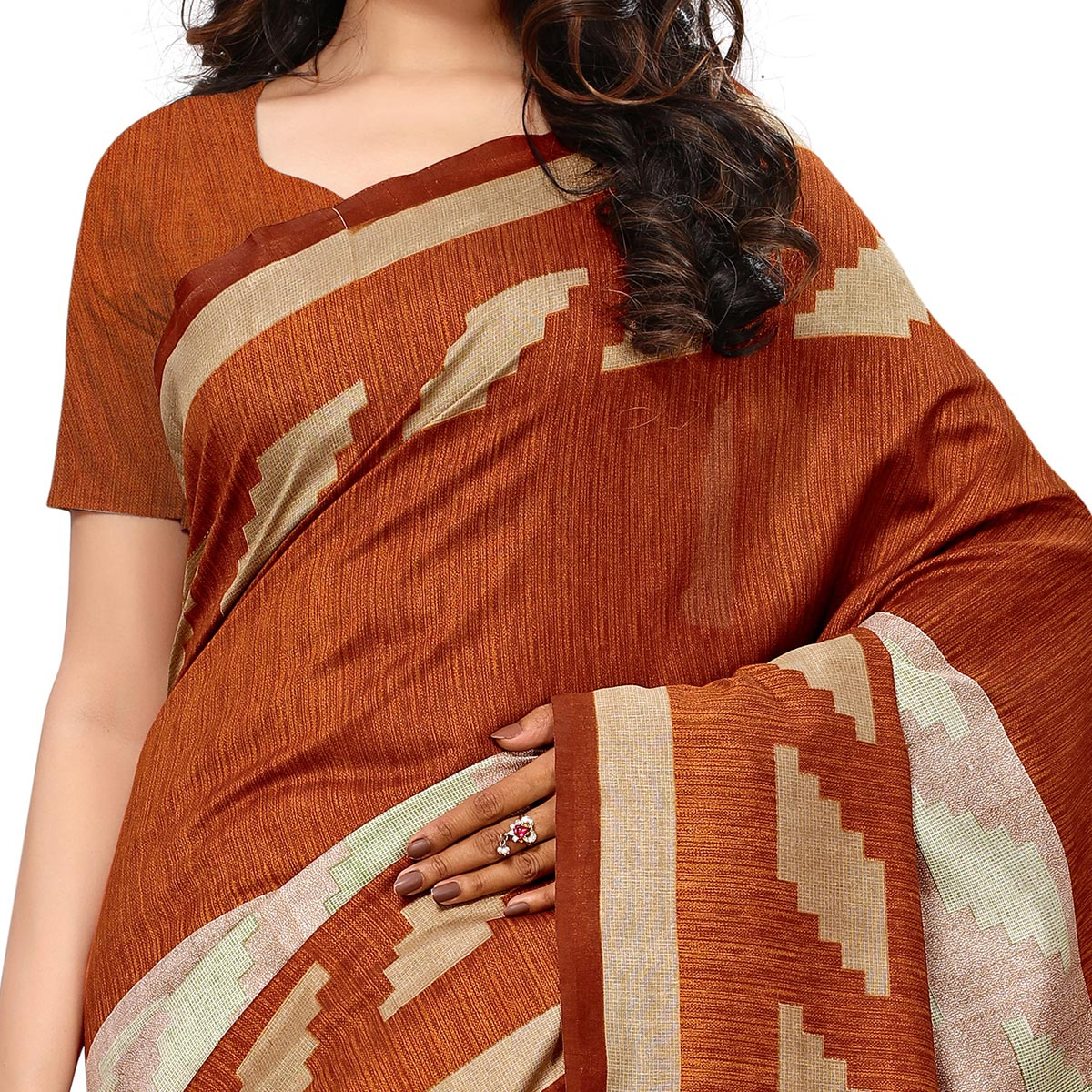 Alluring Brown Colored Casual Wear Printed Art Silk Saree