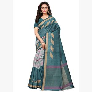 Radiant Teal Colored Casual Wear Printed Art Silk Saree