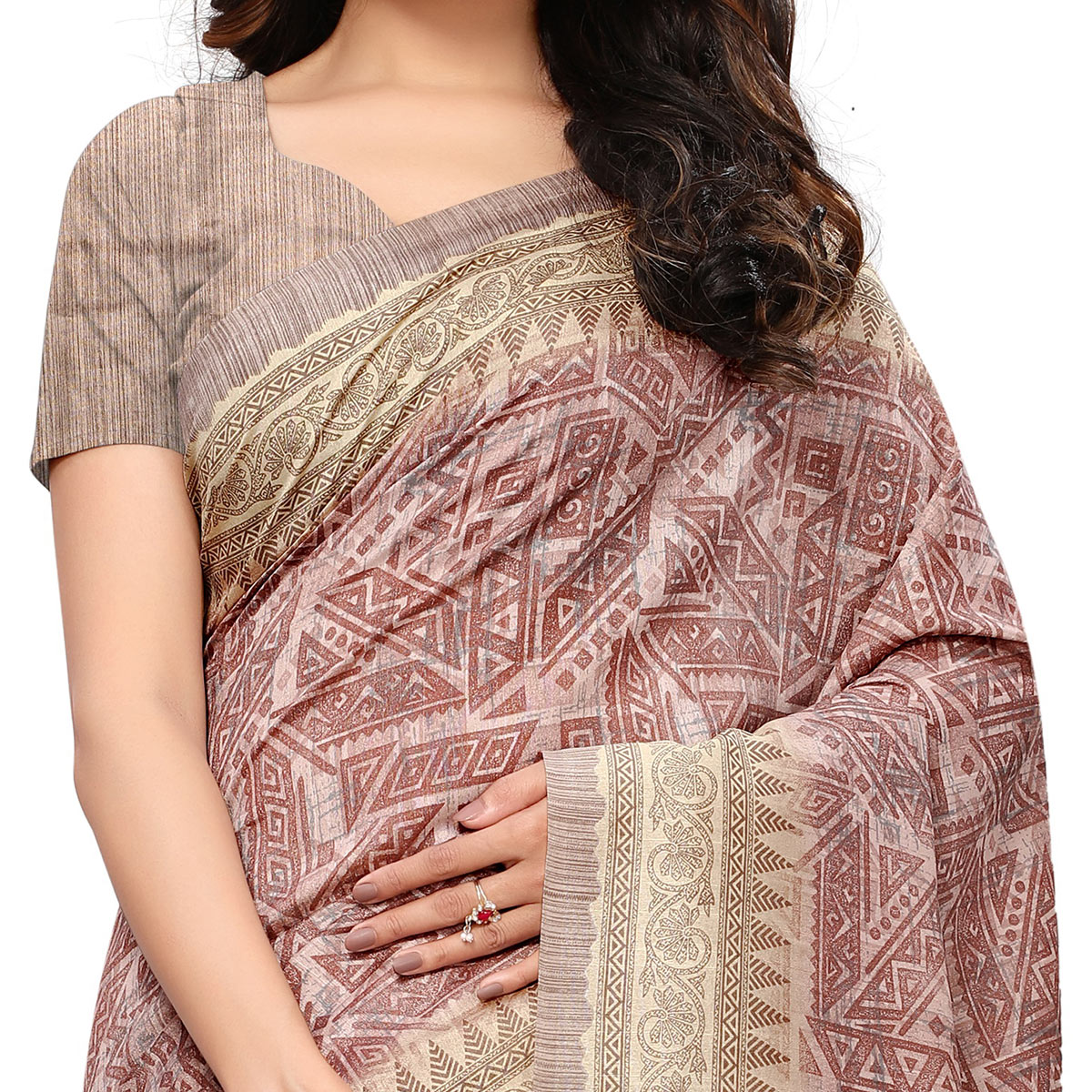 Sensational Light Wine Colored Casual Wear Printed Art Silk Saree