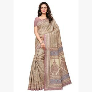 Opulent Beige -  Pink Colored Casual Wear Printed Art Silk Saree