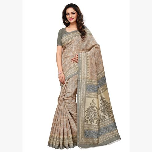 Dazzling Beige - Olive Green Colored Casual Wear Printed Art Silk Saree