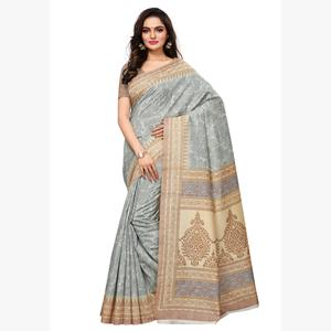 Flattering Grey Colored Casual Wear Printed Art Silk Saree