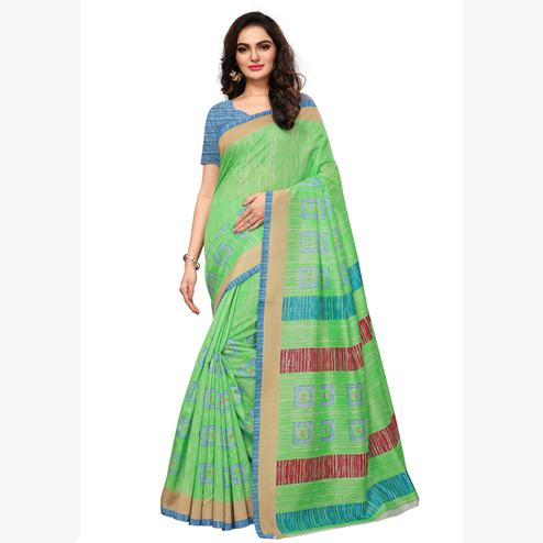 Breathtaking Light Green Colored Casual Wear Printed Art Silk Saree