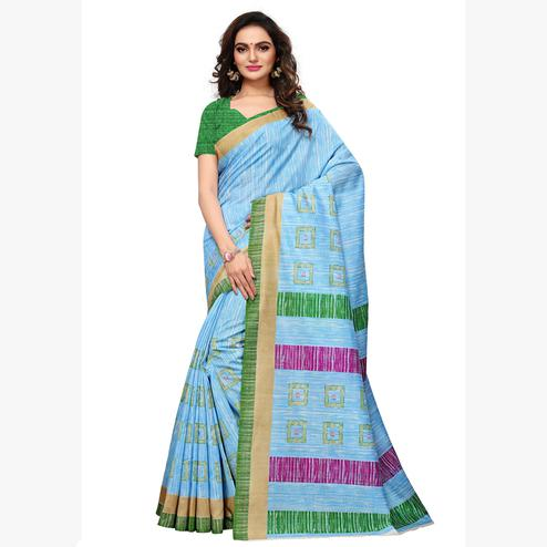 Impressive Sky Blue  Colored Casual Wear Printed Art Silk Saree