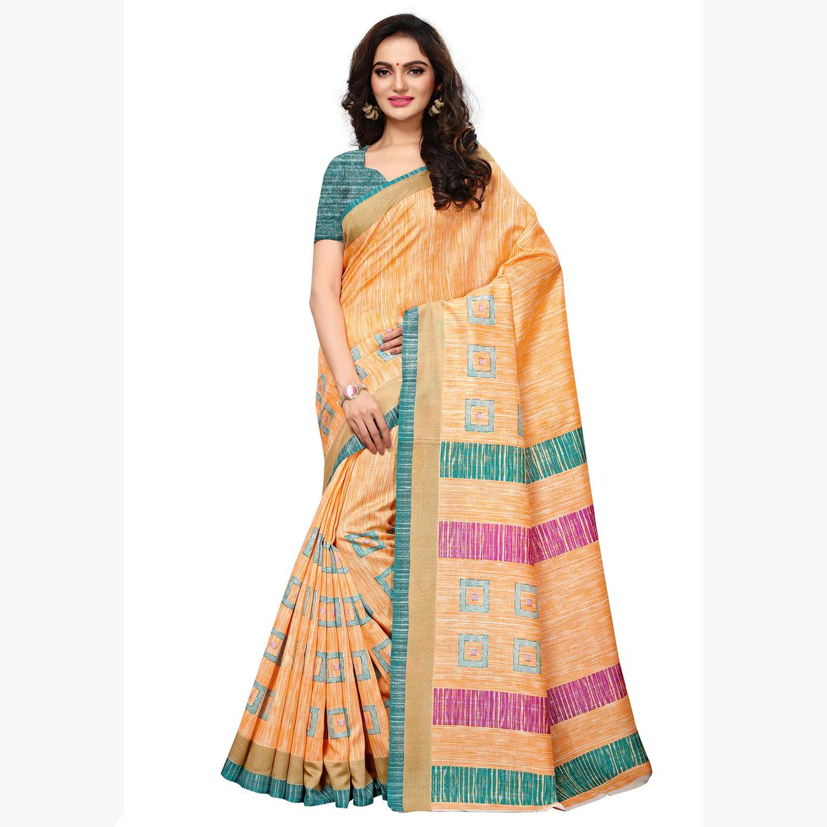 Innovative Light Orange Colored Casual Wear Printed Art Silk Saree
