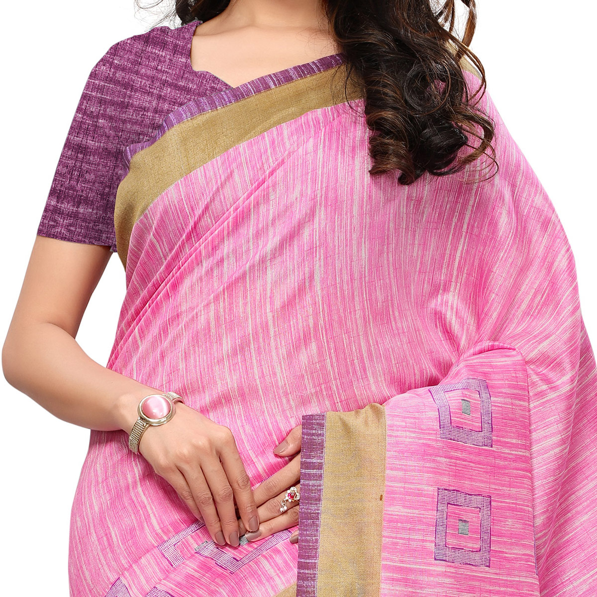 Gleaming Pink Colored Casual Wear Printed Art Silk Saree