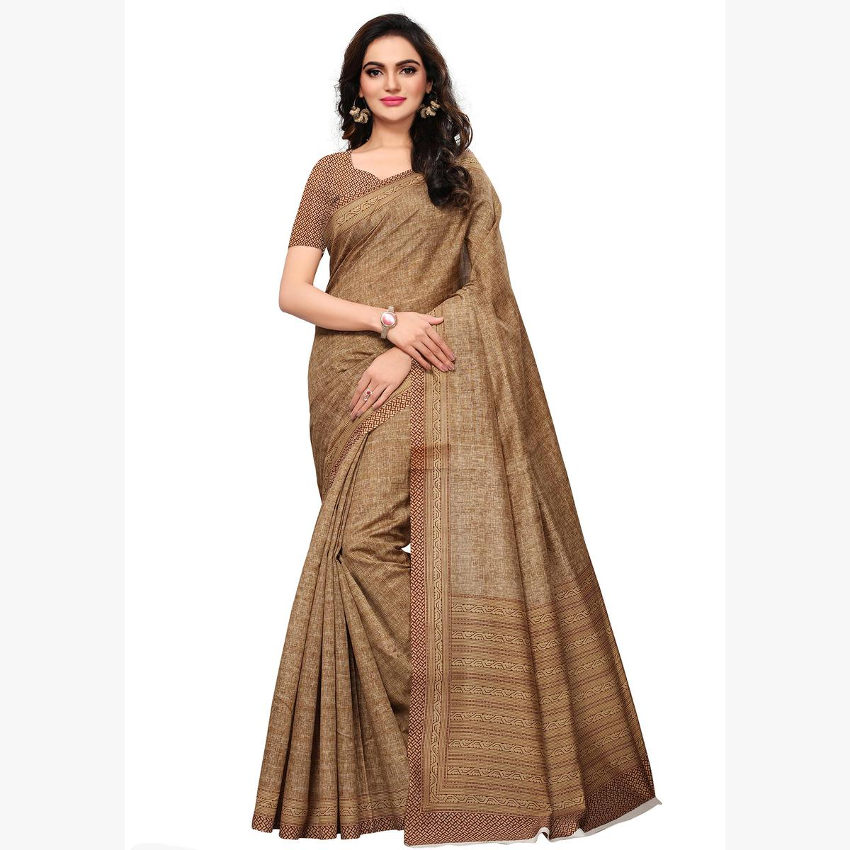Arresting Brown & Beige Colored Casual Wear Printed Art Silk Saree