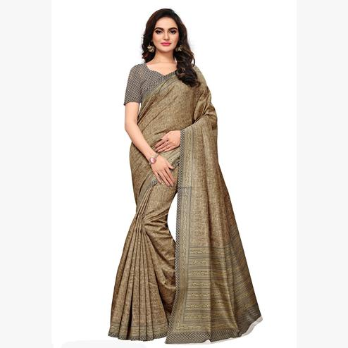 Ideal Blue & Beige Colored Casual Wear Printed Art Silk Saree