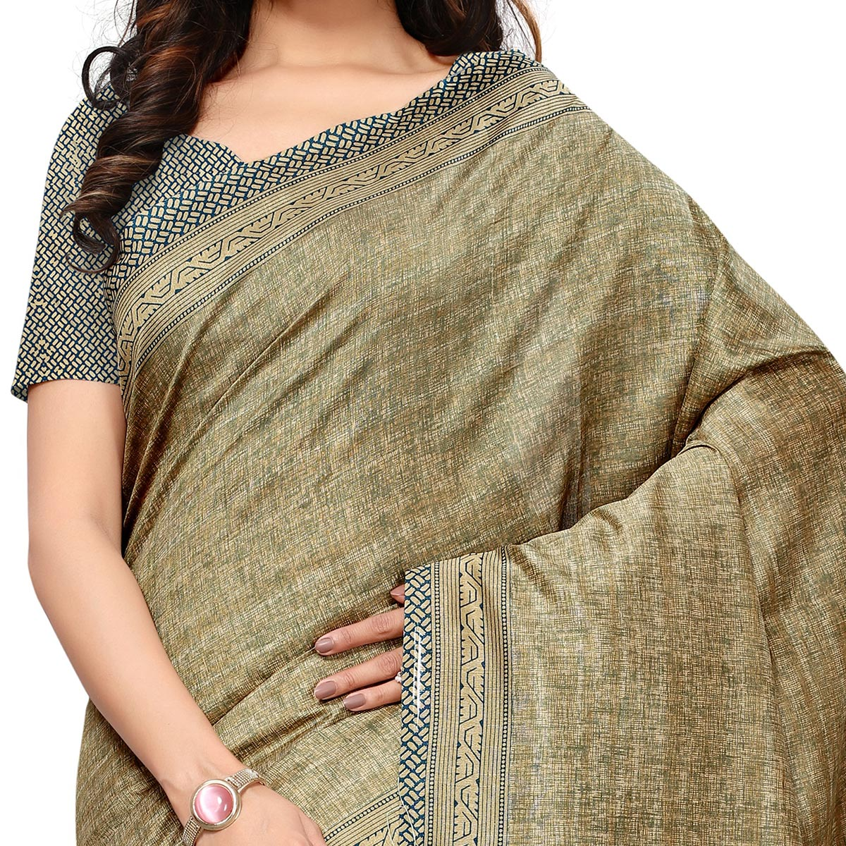 Fantastic Teal Blue & Beige Colored Casual Wear Printed Art Silk Saree
