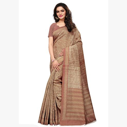 Staring Maroon & Beige Colored Casual Wear Printed Art Silk Saree