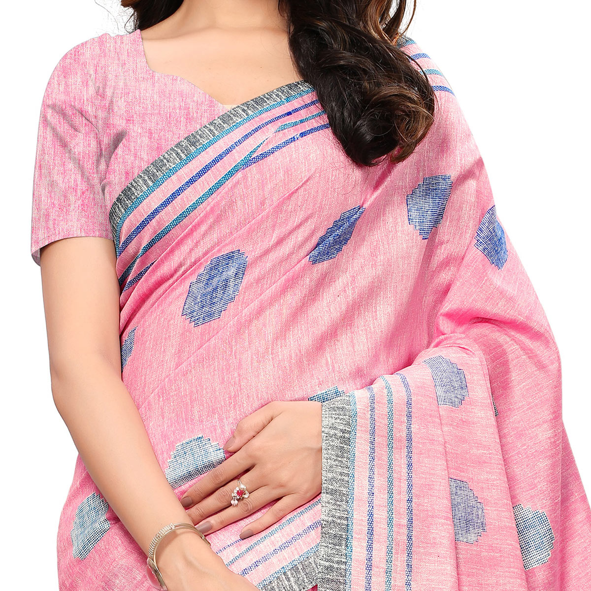 Exceptional  Pink Colored Casual Wear Printed Art Silk Saree