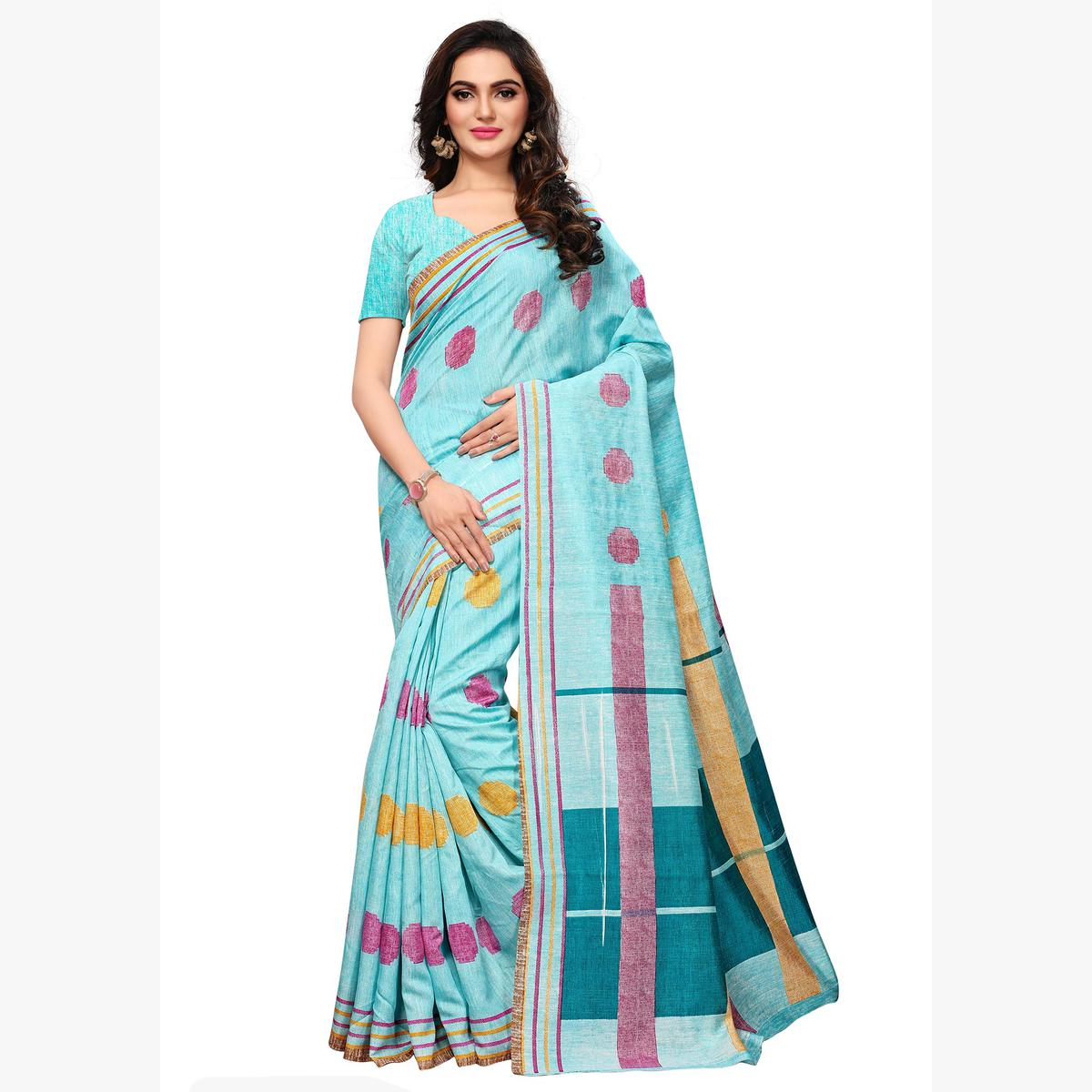 Ethnic Sky Blue Colored Casual Wear Printed Art Silk Saree