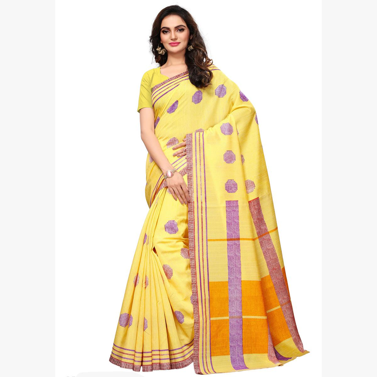 Starring yellow Colored Casual Wear Printed Art Silk Saree
