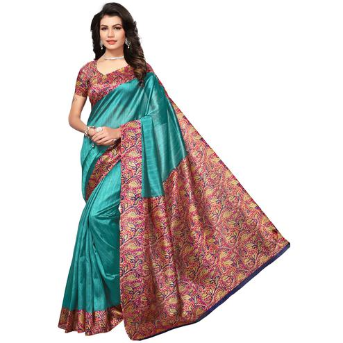 Attractive Turquoise Blue Colored Festive Wear Bhagalpuri Silk Saree