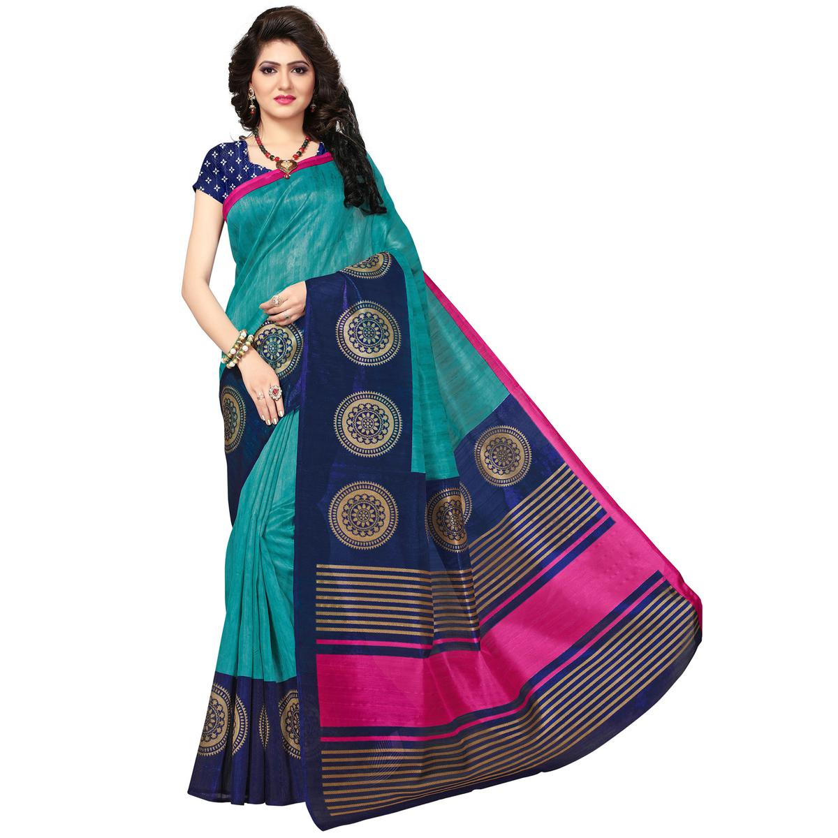 Gorgeous Turquoise Blue Colored Casual Printed Bhagalpuri Silk Saree
