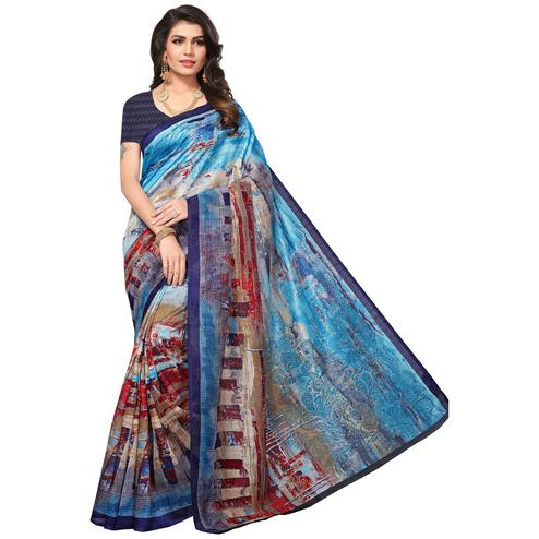Glorious Shaded Blue Colored Casual Printed Bhagalpuri Silk Saree
