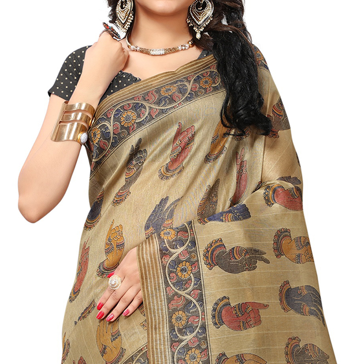 Graceful Beige Colored Casual Printed Bhagalpuri Silk Saree