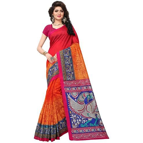 Lovely Pink-Orange Colored Casual Printed Bhagalpuri Silk Saree