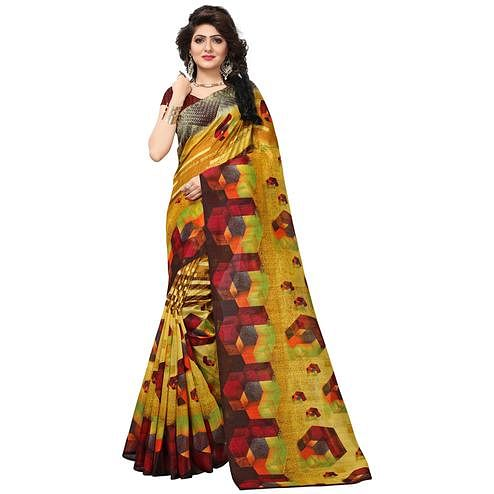 Pretty Shaded Mustard Yellow Colored Casual Printed Bhagalpuri Silk Saree