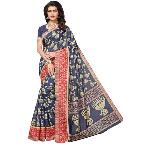 Charming Blue Colored Casual Printed Bhagalpuri Silk Saree