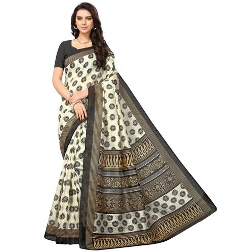 Ravishing Off-White Colored Casual Printed Bhagalpuri Silk Saree