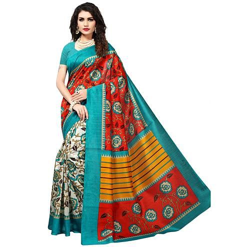 Delightful Red-White Colored Casual Printed Bhagalpuri Silk Saree