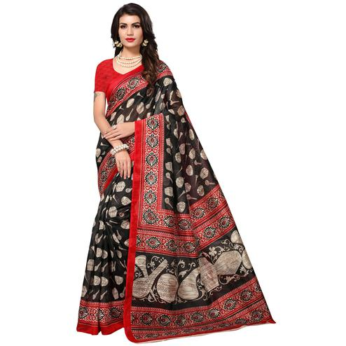 Stunning Black Colored Casual Printed Bhagalpuri Silk Saree