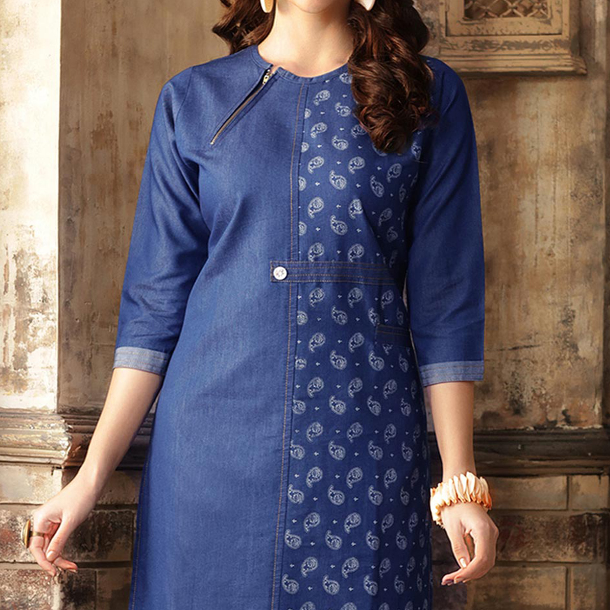 Stylish Blue Denim Designer Kurti