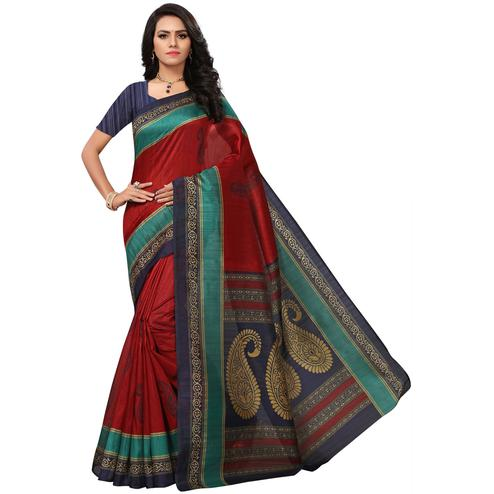 Marvellous Maroon Colored Casual Printed Bhagalpuri Silk Saree