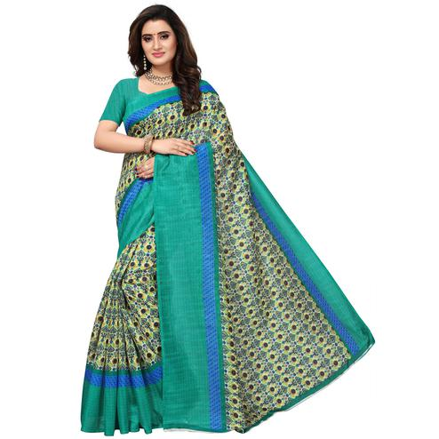 Mesmerising OffWhite-Turquoise Colored Casual Printed Bhagalpuri Silk Saree