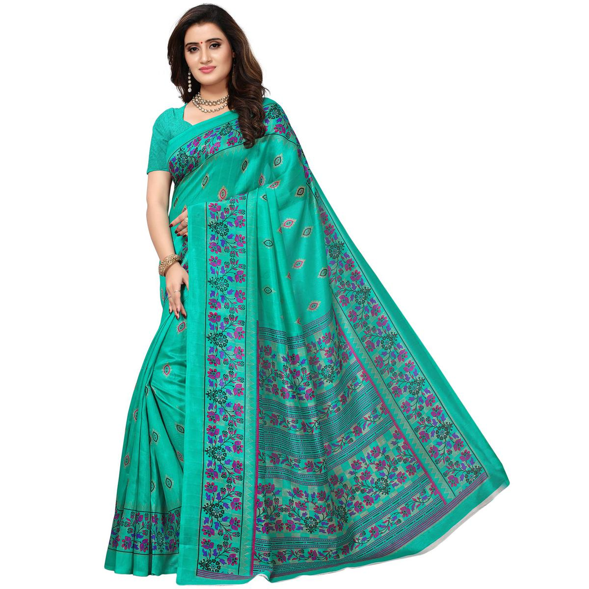 Ravishing Sea Green Colored Casual Printed Bhagalpuri Silk Saree