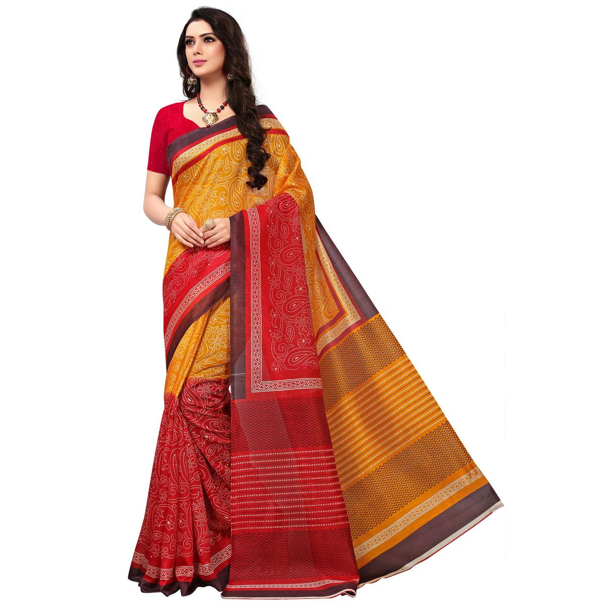 Eye-catching Mustard-Red Colored Casual Printed Bhagalpuri Silk Saree