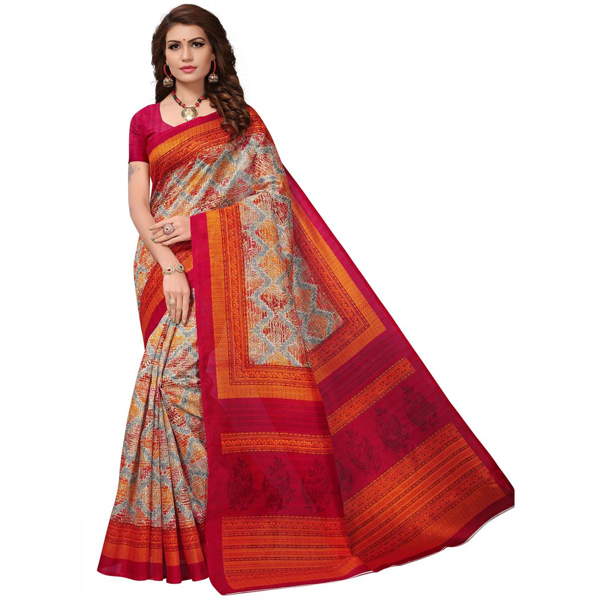 Exotic Grey-Pink Colored Casual Printed Bhagalpuri Silk Saree