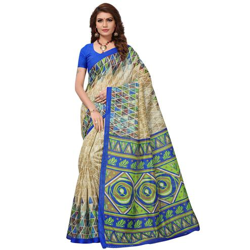 Majesty Beige-Blue Colored Casual Printed Bhagalpuri Silk Saree