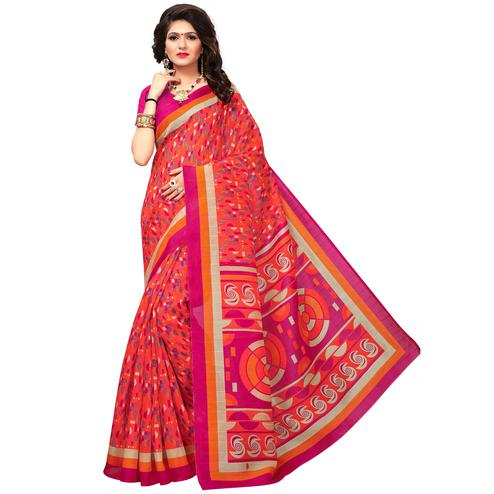 Preferable Dark Peach Colored Casual Printed Bhagalpuri Silk Saree