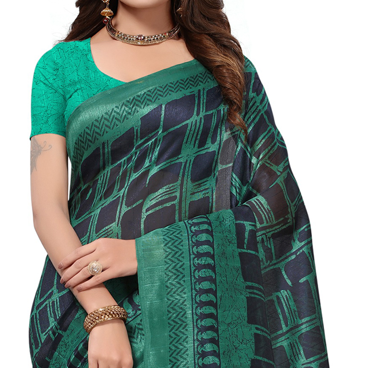 Attractive Navy Blue-Green Colored Casual Printed Bhagalpuri Silk Saree