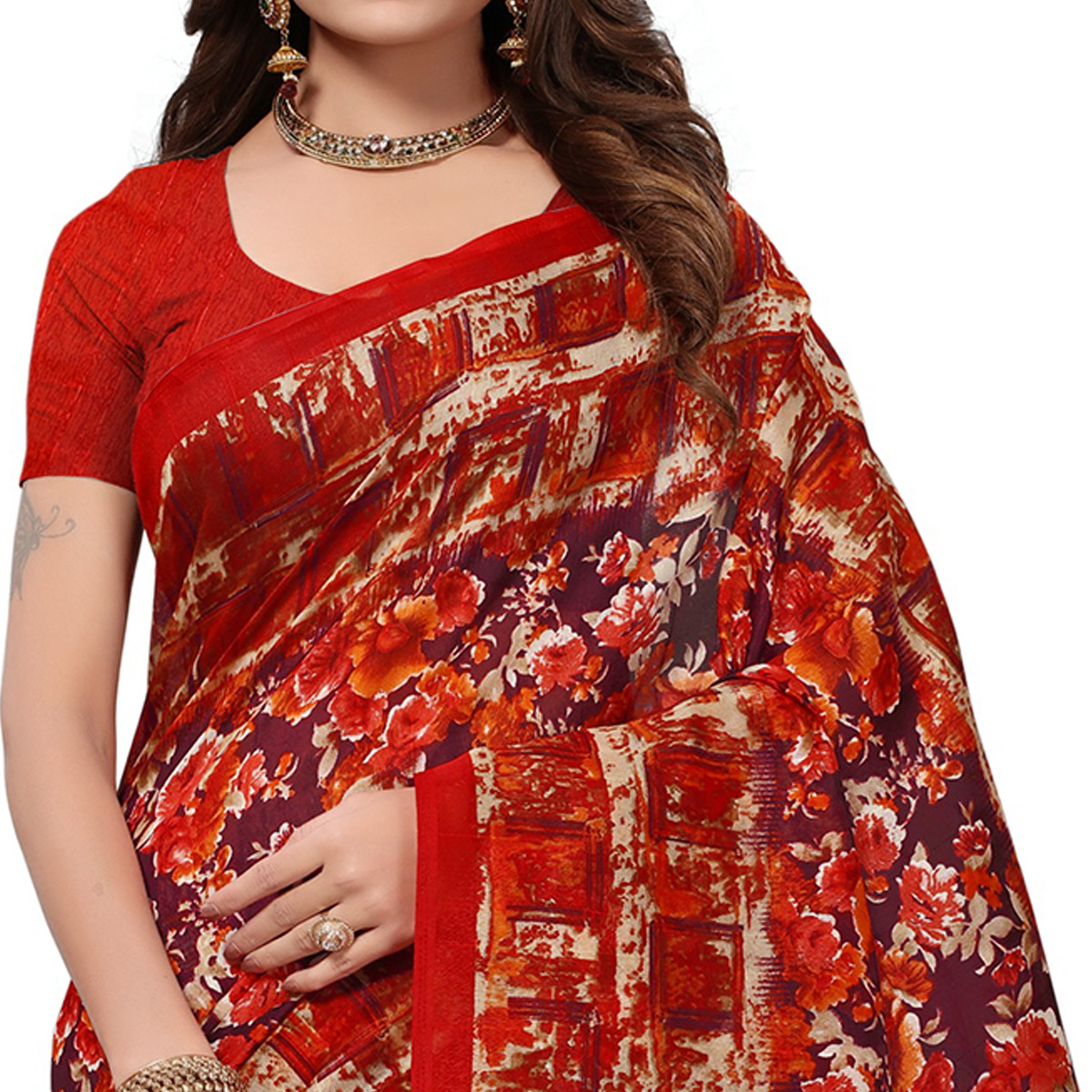 Beautiful Purple-Dark Orange Colored Casual Printed Bhagalpuri Silk Saree