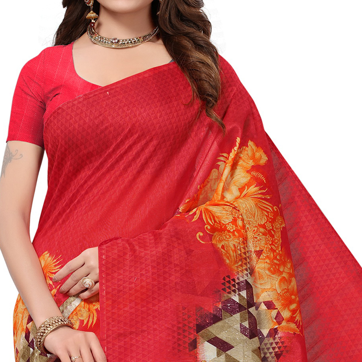 Gorgeous Pink-Orange Colored Casual Printed Bhagalpuri Silk Saree