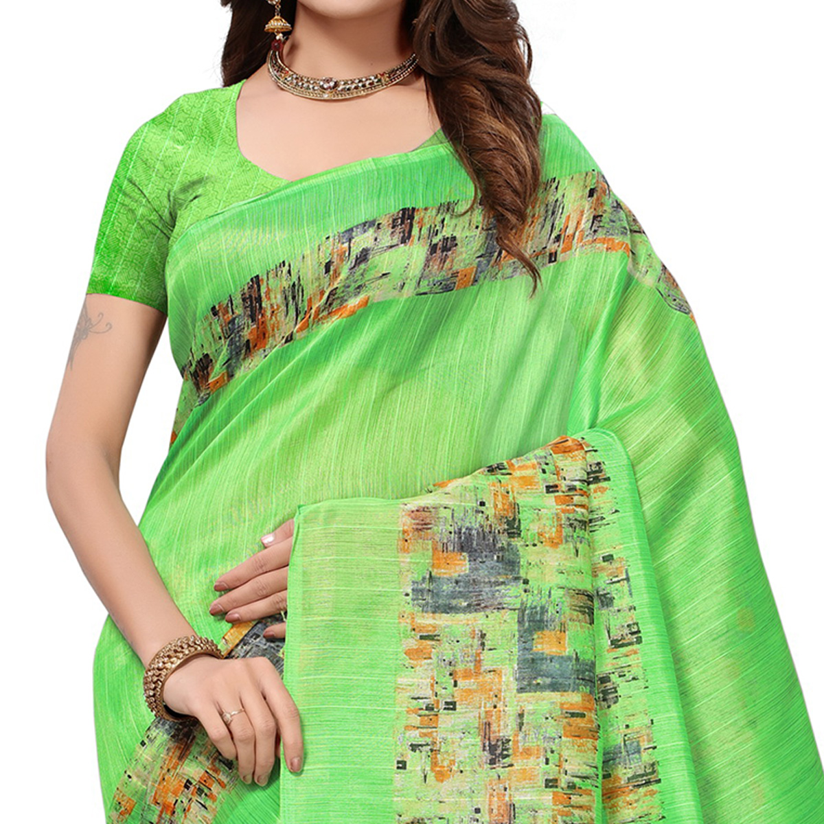 Lovely Light Green Colored Casual Printed Bhagalpuri Silk Saree